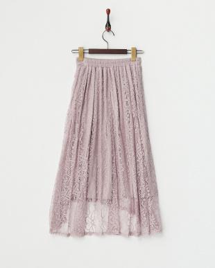 ピンク イレギュラーヘム レーススカートを見る