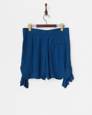 67 ダークブルー ダークブルー タック入り裾リボンショートパンツを見る