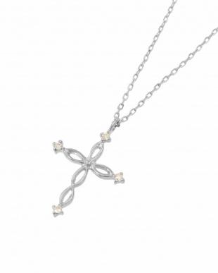 K18WG 天然ダイヤモンド ネックレス・ツイストクロスを見る