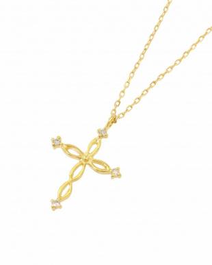 K18YG 天然ダイヤモンド ネックレス・ツイストクロスを見る