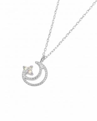 K18WG 天然ダイヤモンド ネックレス・ムーンミルを見る