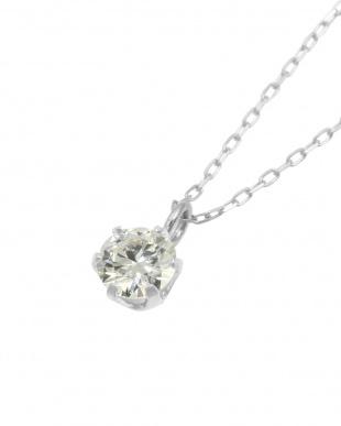 Pt 天然ダイヤモンド 0.2ct VVSクラス 6本爪ネックレス・あずきチェーンを見る