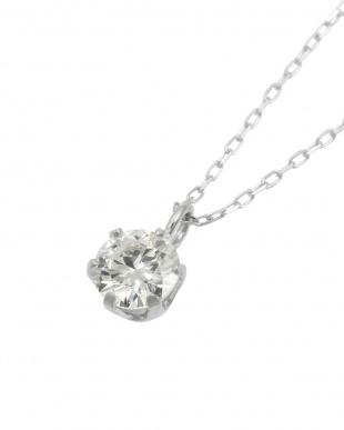 Pt 天然ダイヤモンド 0.3ct VVSクラス 6本爪ネックレス・あずきチェーンを見る
