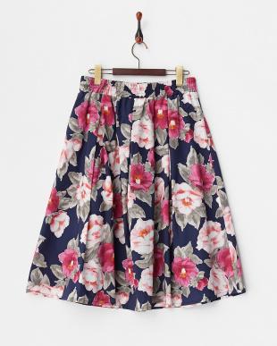 ネイビー フラワープリントフレアスカートを見る
