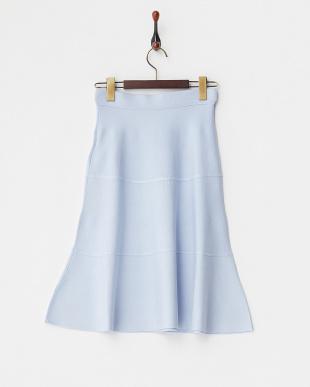 ブルー ニットフレアスカートを見る
