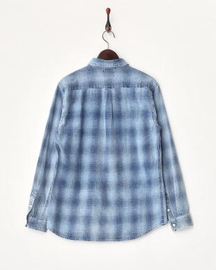 002 ブルー インディゴチェックフランネルシャツ見る