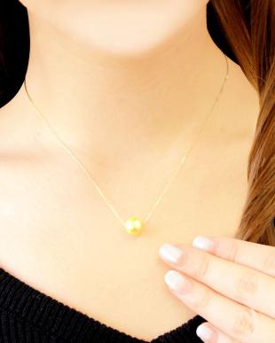 K18YG あこや本真珠 8.5mm~9mm 大玉ゴールデンパール 一粒スルーネックレスを見る