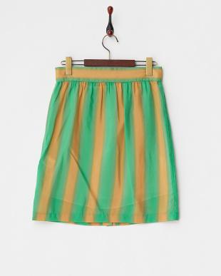 30 グリーン グリーン×オレンジ にじみストライプスカートを見る