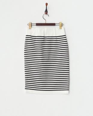 ホワイト ボーダーハイウエストスカートを見る