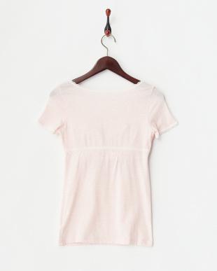 ピンク 杢カラーカップ付き半袖インナー見る