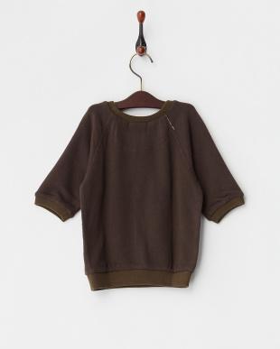 チャコールグレー フワフワ裏毛7分袖スウェット|UNISEXを見る