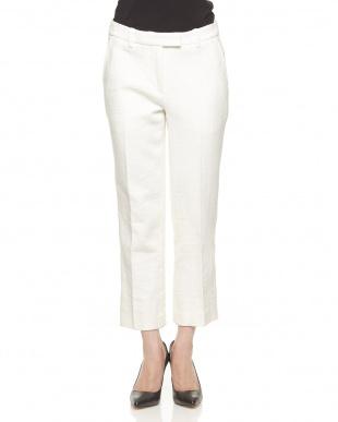 白 麻×綿 裾スリットパンツを見る