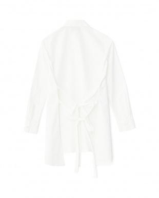 ホワイト バックリボンロングシャツ見る