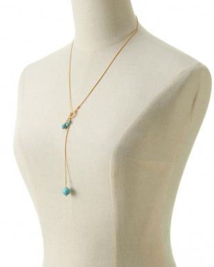 ブルー/クリスタル/ゴールド 淡水パール&ターコイズ Yスタイルスネークチェーンネックレスを見る