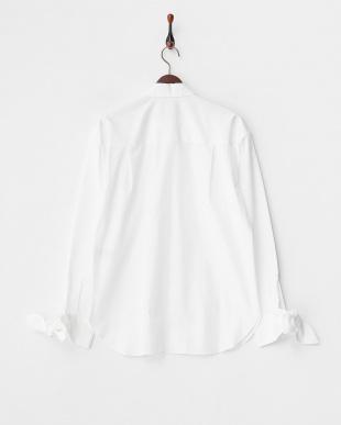 4 ホワイト ボウオーバーシャツ見る