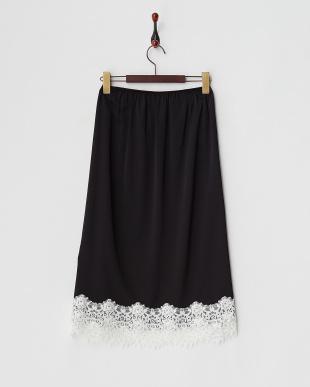 ブラック ランジェリーライクペチコートスカート見る