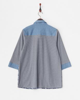ブルー 綿ボーダードッキングフラワー刺繍シャツ見る