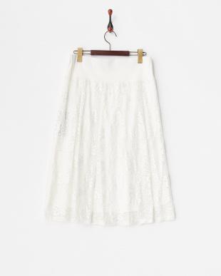 ホワイト ウエストリブ フラワーレーススカート見る