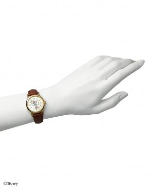 ゴールド×ブラウンベルト ミニーマウス時計 レザーベルトを見る