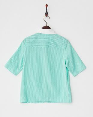 グリーン ストライプクレリックシャツを見る