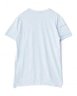 ライトブルー アンカープリント切り替えTシャツを見る