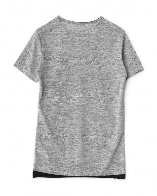 グレー 裾切り替えメランジニットTシャツを見る