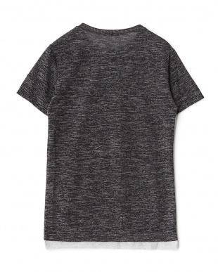 ブラック 裾切り替えメランジニットTシャツを見る