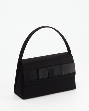 ブラック 撥水加工 リボンフラップ ハンドバッグ見る