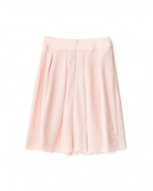ピンク シフォン 裾スカラップ刺繍フレアースカートを見る