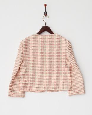 ピンク INDIZIO ダイヤ柄ノーカラーZIPジャケットを見る