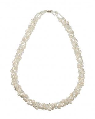 ホワイト 淡水パール コンバーチブル スパイラルネックレス&ブレスレットを見る