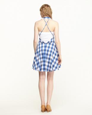 P7C1 ブルー系 ブロックチェックシャツドレスを見る