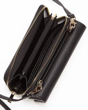 ブラック 財布付きフラップショルダーバッグ見る