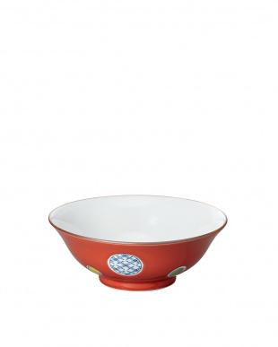 赤釉丸紋 和風麺鉢を見る