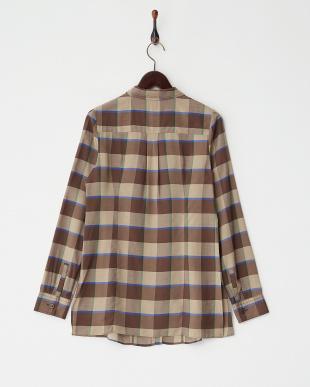 ブラウン 長袖チェックシャツ見る