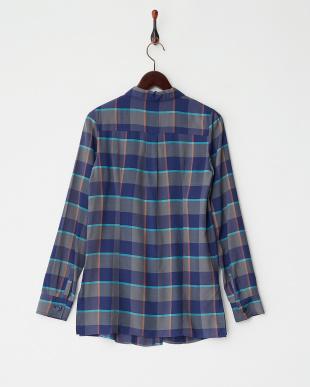ブルー 長袖チェックシャツ見る