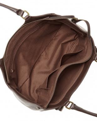 チョコ レザー横長ハンドバッグを見る