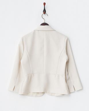 ベージュ 格子織り柄7分袖ペプラムジャケットを見る