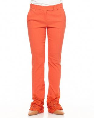453 オレンジ 裾レース リネン混パンツを見る
