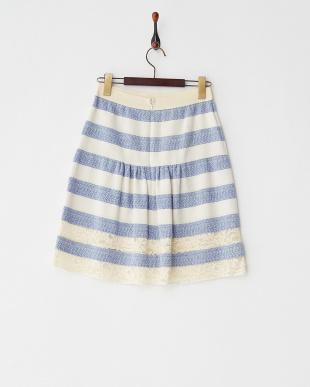 ホワイト×ブルー 裾レースジャガードラインスカートを見る