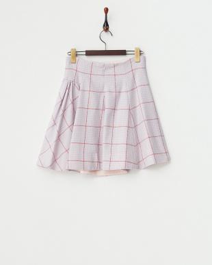 ピンク 千鳥ギャザーフレアスカートを見る