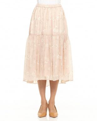 ピンク シフォン花柄ミディ丈スカートを見る