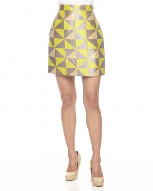 pale yellow pattern イエロー 幾何学柄ジャカードスカートを見る