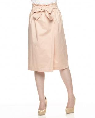ピンク ウォッシャブル コットンウエストリボンスカートを見る