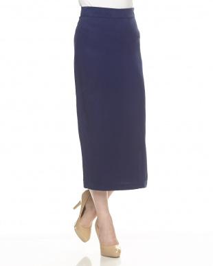 blue ブルー テンセル サイドスリットタイトスカート見る