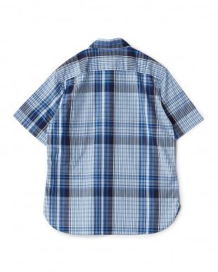 ネイビー ビッグチェックレギュラーカラーダストマンショートスリーブシャツを見る