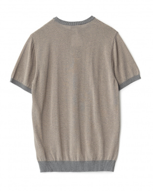 ダークグレー リブボーダーニットTシャツを見る