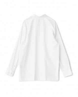 ホワイト ハーフジッププルオーバーシャツ見る