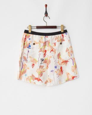 オフホワイト フラワーパンサーTe/Liスカート風パンツを見る