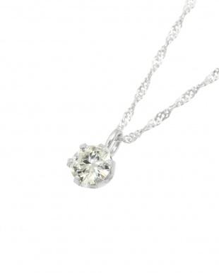 K18WG 天然ダイヤモンド0.1ct VVSクラス 6本爪ネックレス見る